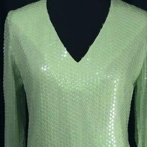 Victor Costa Dress Romantica Green GoGo Sequins